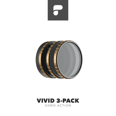 PolarPro Cinema Series Vivid Collection 3-Pack for DJI Osmo Action (ND4/PL, ND8/PL, ND16/PL)