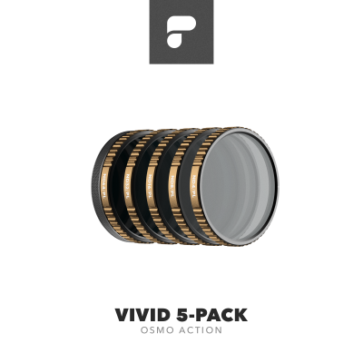 PolarPro Cinema Series Vivid Collection 5-Pack for DJI Osmo Action (ND4/PL, ND8/PL, ND16/PL, ND32/PL, ND64/PL)